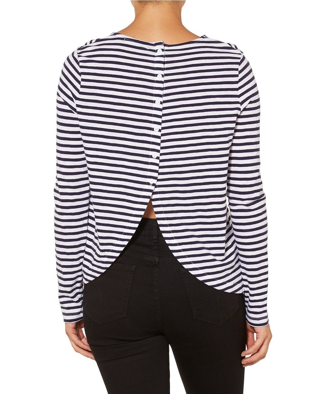 The Simplicity Of The Button Back Long Sleeve Top Will Have You