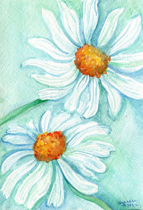 Original Watercolor Painting Daisy Minty Home Decor Shasta Flowers Daisies Wall Art Flower