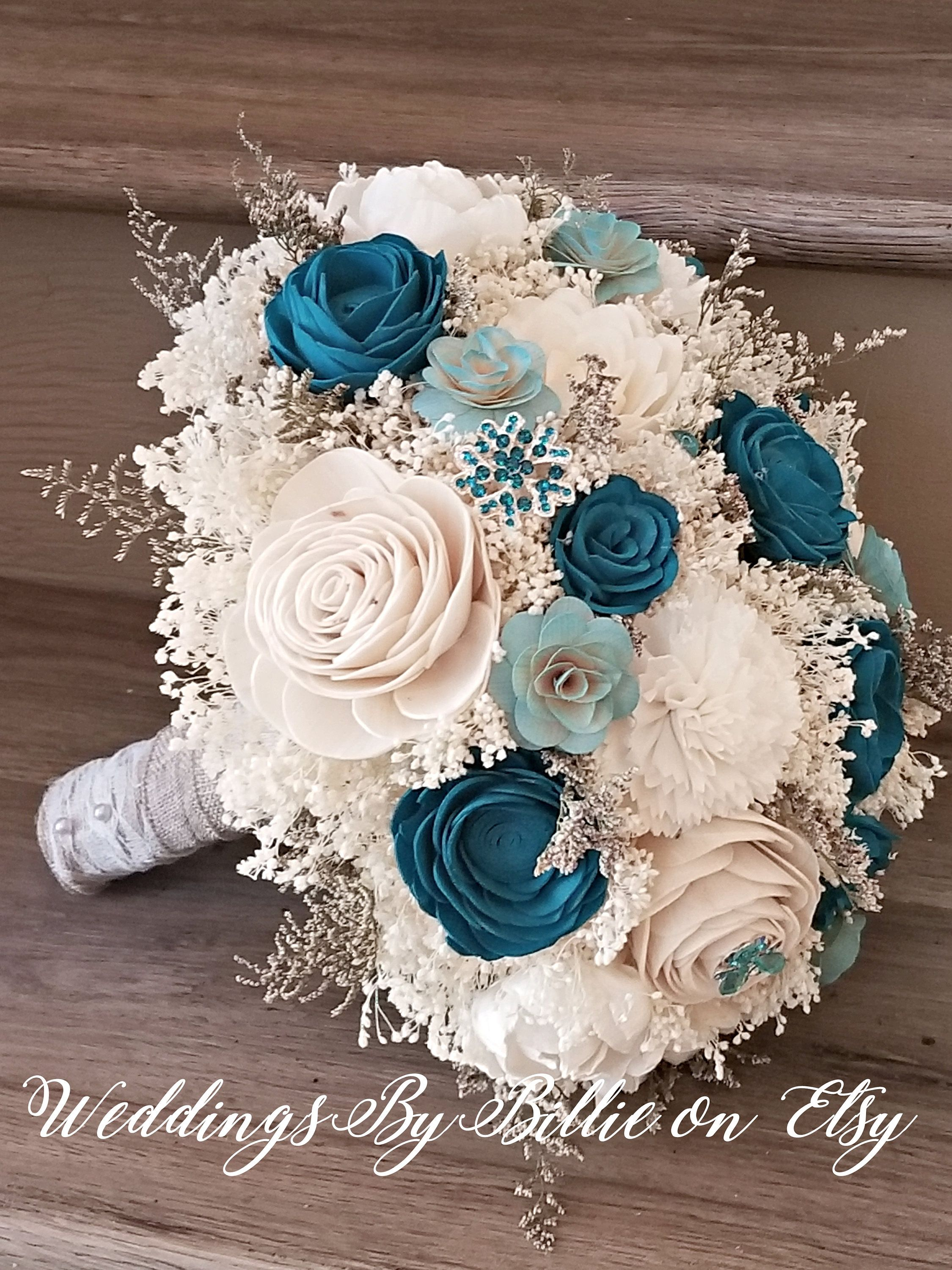 Turquoise Teal Sola Flower Bouquet Sola Flowers Teal Wedding Etsy Sola Flower Bouquet Teal Wedding Flowers Teal Wedding Bouquet