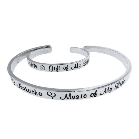 Mother Daughter Matching Bracelets Son Cuff Set Personalized Mommy Jewelry Stamped Names On Silver Custom Engraved Handmade