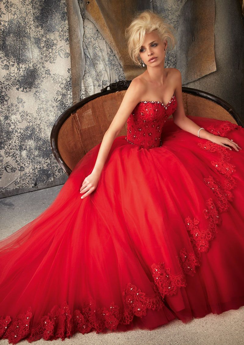 MZ0123 Sweetheart Neckline Red Tulle Appliques Beaded 2014 Princess Wedding Dresses without Train $175.63