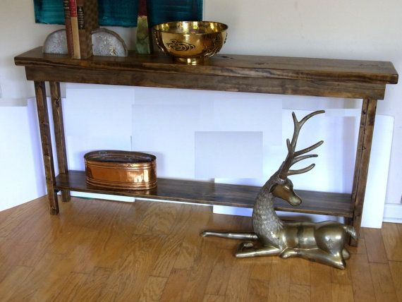 60 Inch Rustic Console Table Extra Narrow Sofa Table Entryway ...