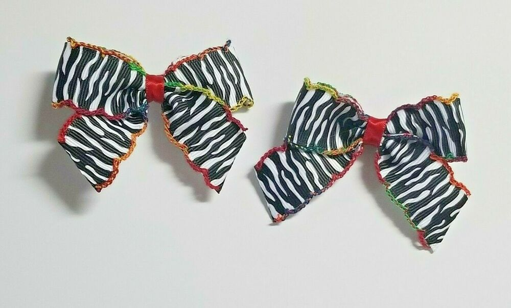 2 hairbows- rainbow moon stich zebra hair bows #fashion