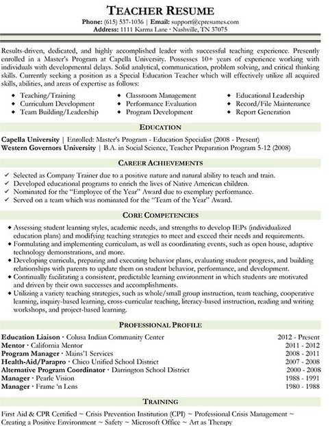 Business Teacher Resume Samples  Teacher Resume Examples