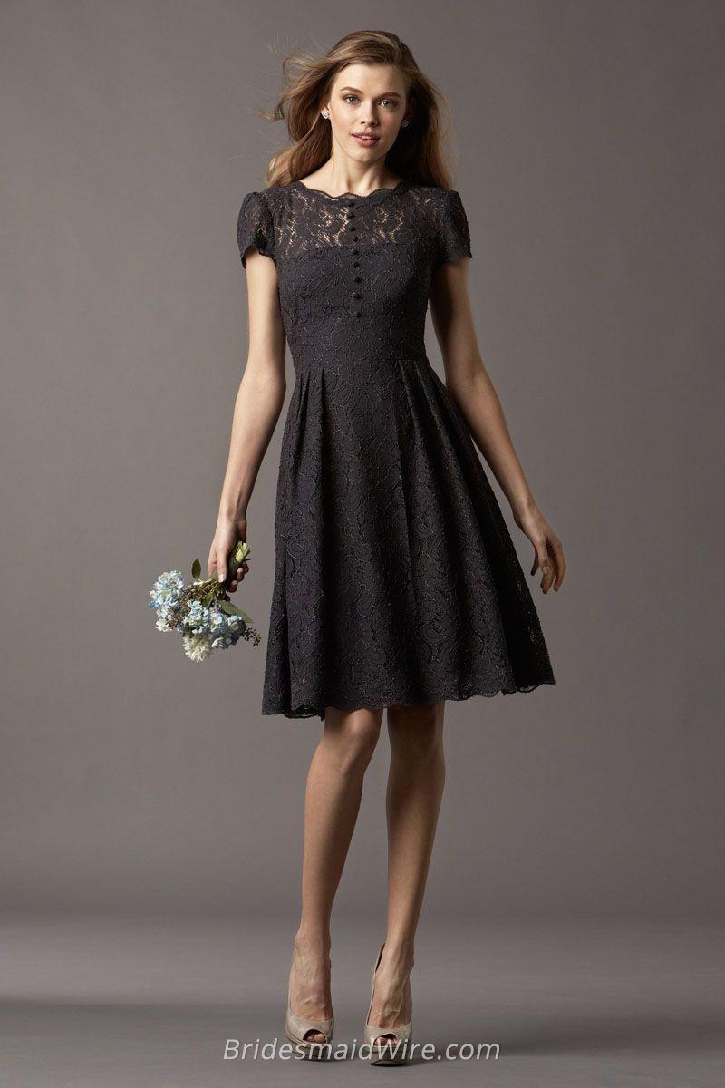 Modest black lace short sleeve crew neck knee length aline