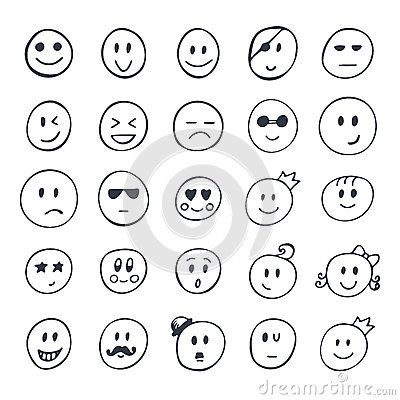 Set Of Hand Drawn Smiley Funny Faces With Different Expressions How To Draw Hands Smiley Funny Faces