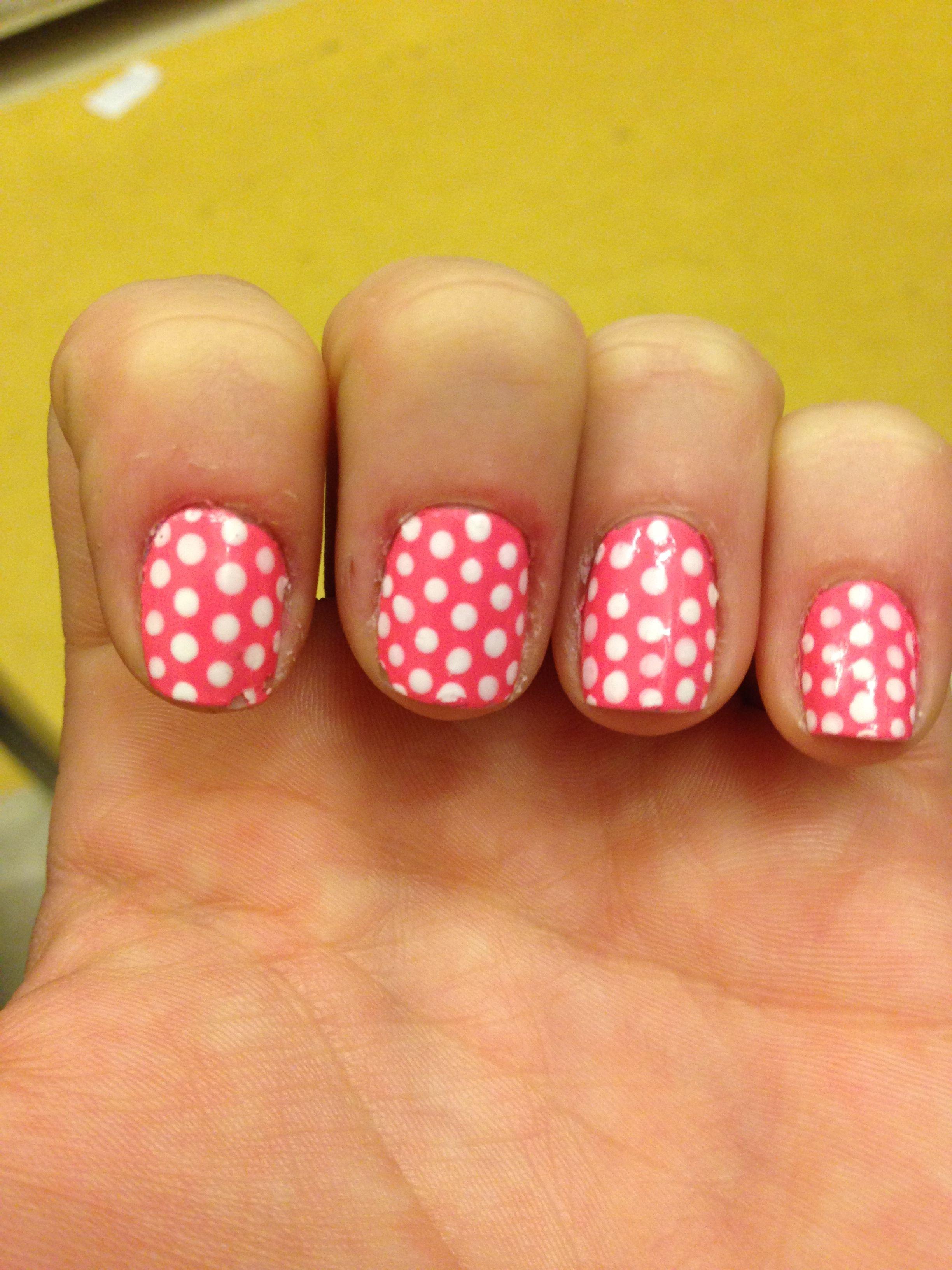 #nailart #nails #pink #polkadots