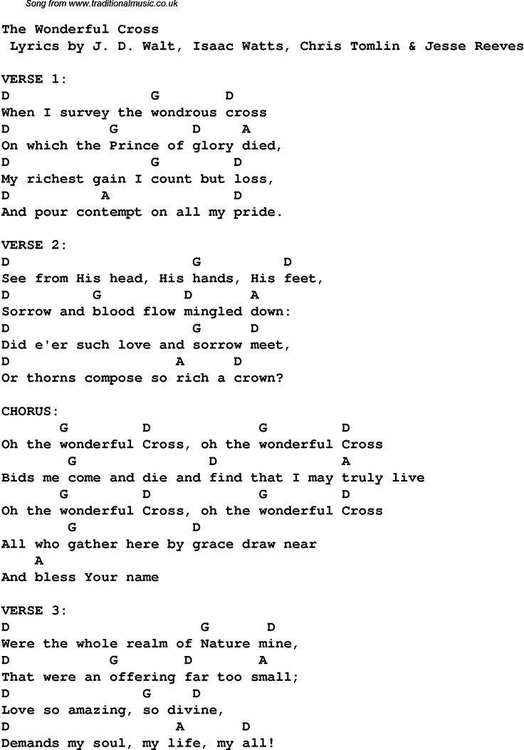 Contemporary Christian music, worship lyrics u0026 chords for: The Wonderful Cross : Guitar Lessons ...