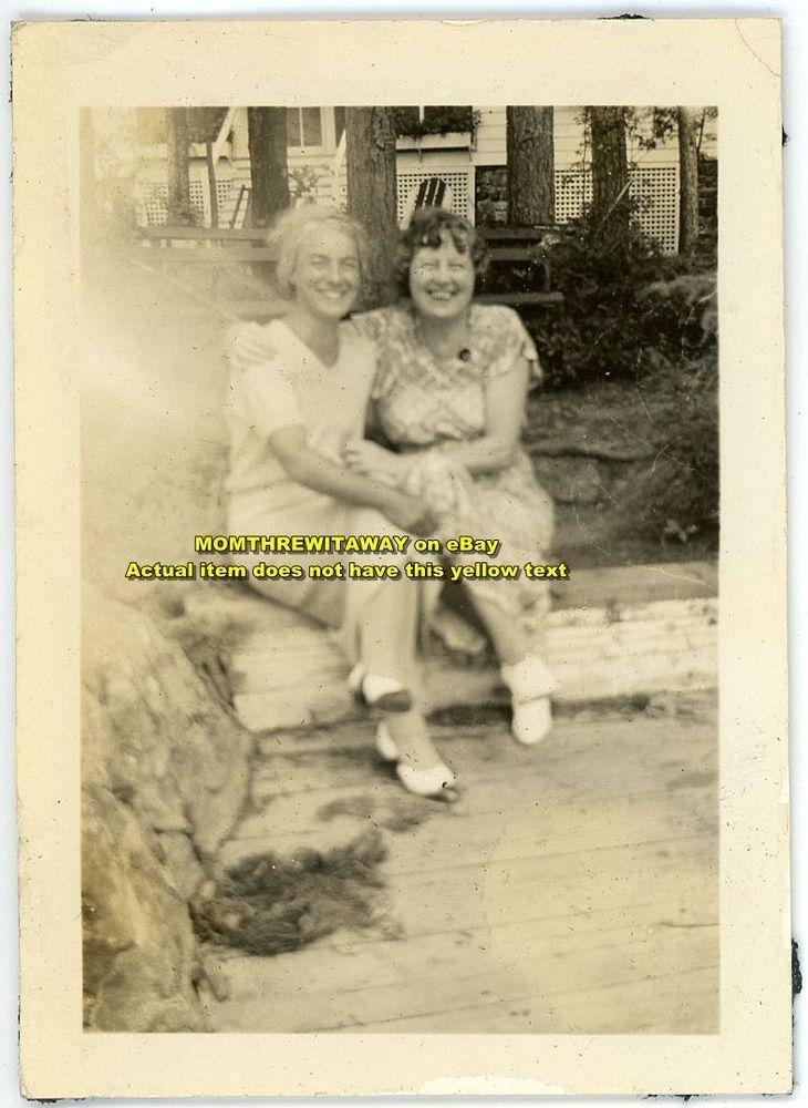 1934 Photo Lesbian Women Hugging Lake George New York NY Carpenter Livingston
