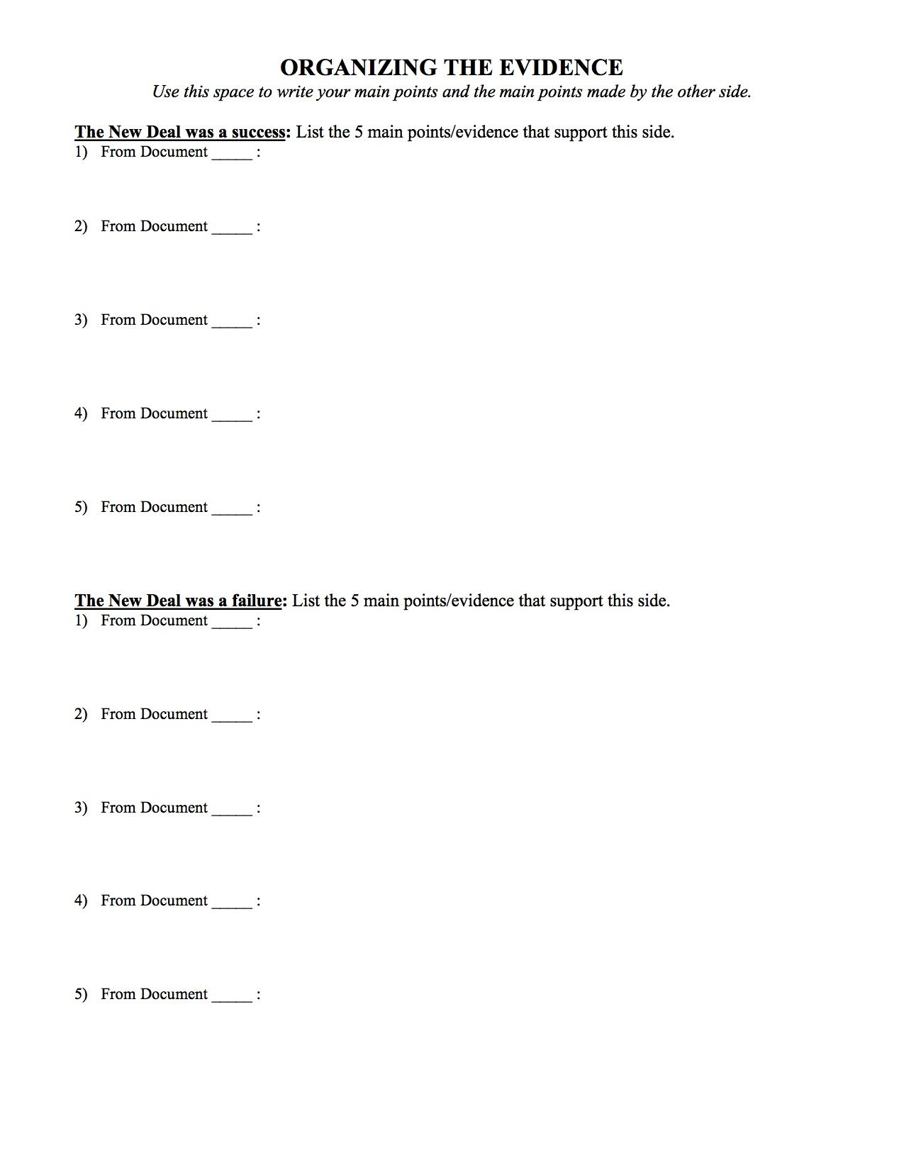 The New Deal Worksheet Answer Key