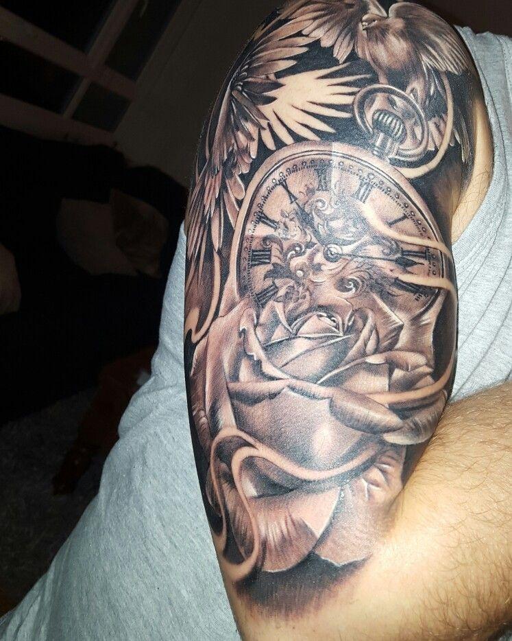 6ebde69f5 Tattoo #Halfsleeve #rose #Pocketwatch #clock #doves | Tattoo ideas ...