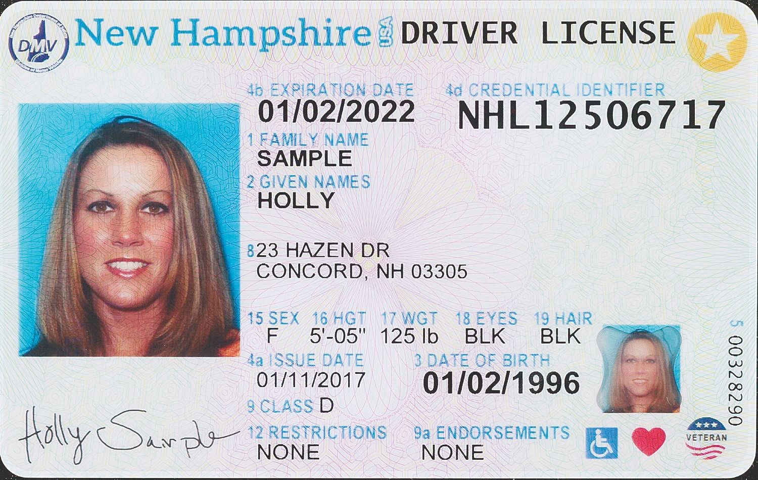 State Motor Vehicle Officials Unveiled Tuesday The New Look Of The New Hampshire Driver 39 S License And Non Driver Identificat Real Id Drivers License Notary