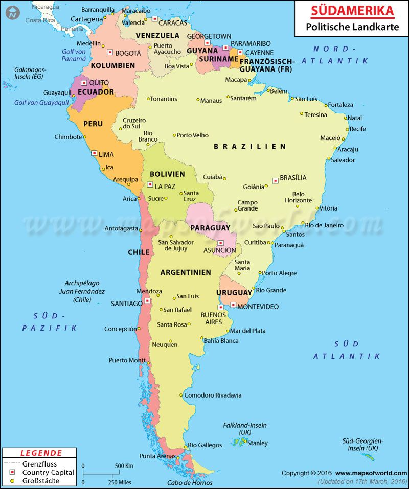 South America Map in German I maps Pinterest South america map