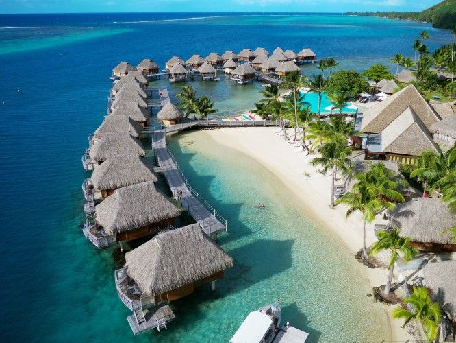 Manava Beach Resort Spa Moorea Aerial Of Overwater