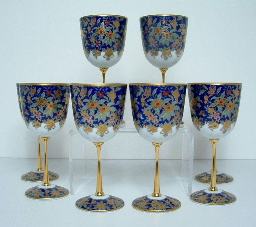 Sake Wine Goblets Hand Painted Porcelain Shibata Gold Cobalt White An Set 8