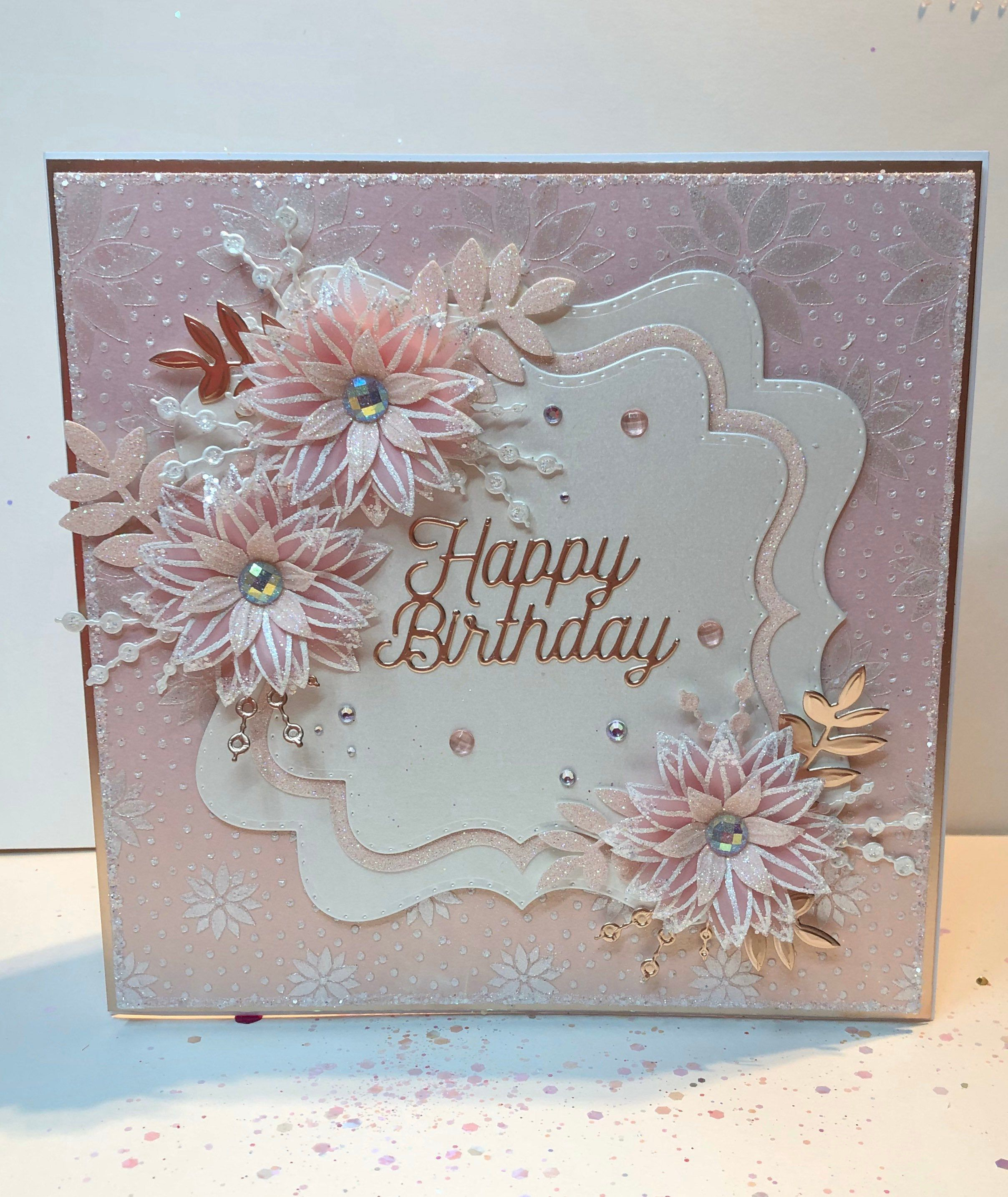 Elegant Handmade Luxury Boxed Birthday Card In Rose Pink Etsy Chloes Creative Cards Boxed Birthday Cards Cards Handmade