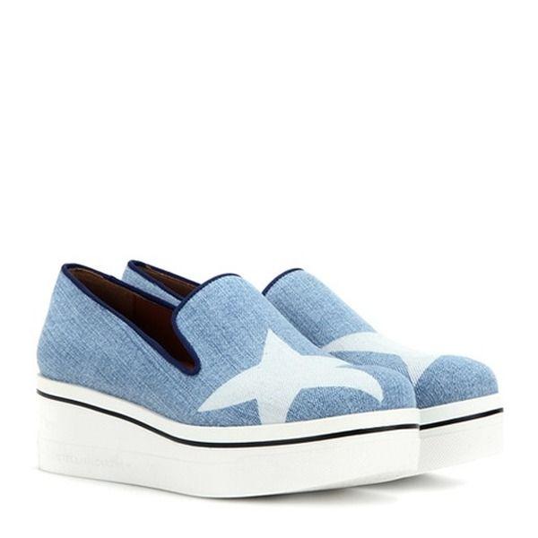 Stella McCartney Binx Stars Denim Loafer Platform Sneakers J2vYacewF