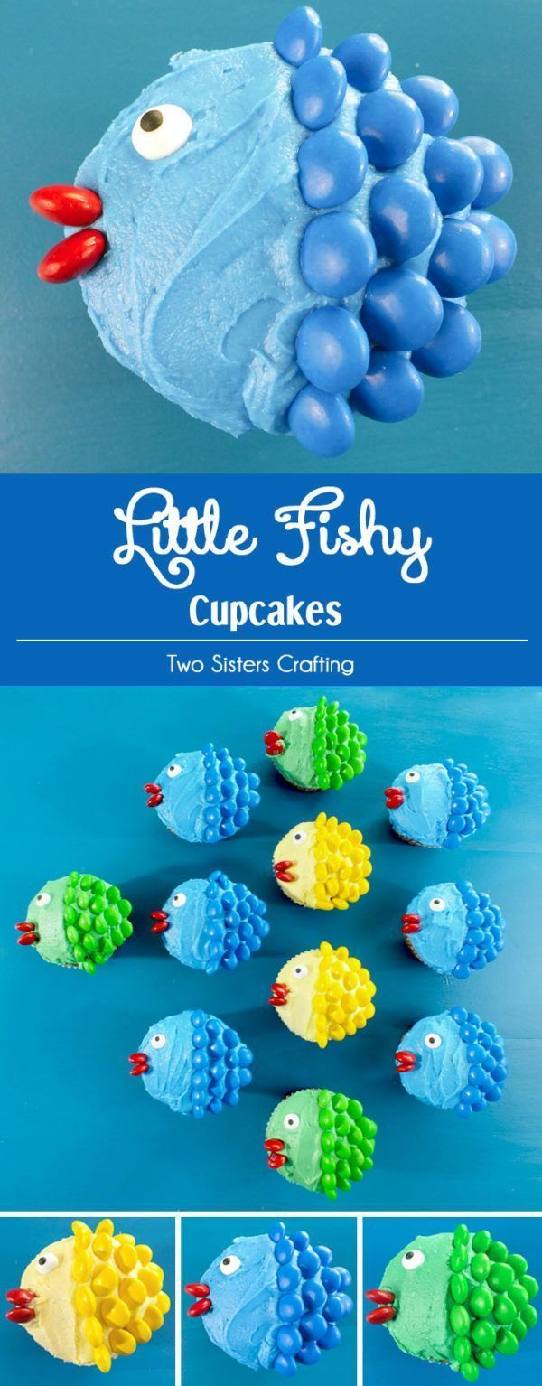 Little Fishy Cupcakes is part of Cupcake frosting - These adorable Little Fishy Cupcakes are easy and fun and will be a hit with the kids and you just need frosting and some M&M's to make them