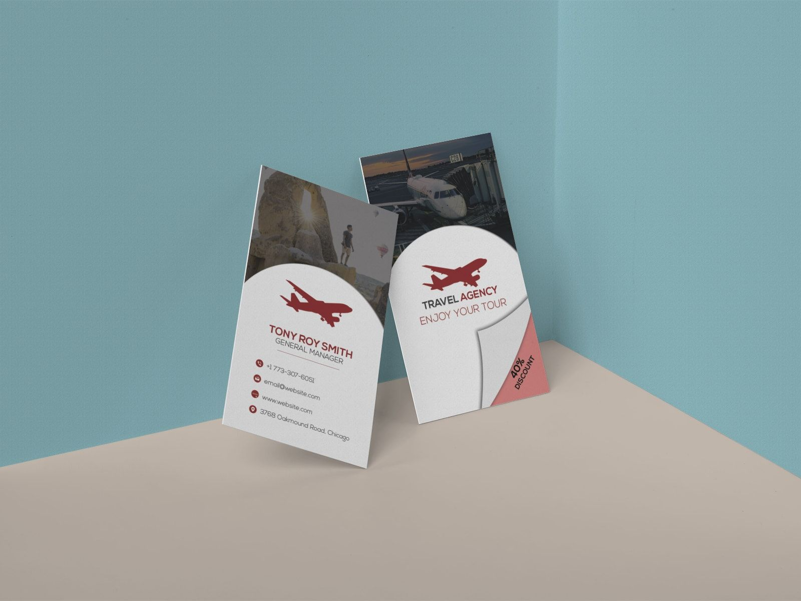 travel agency discount business card with images