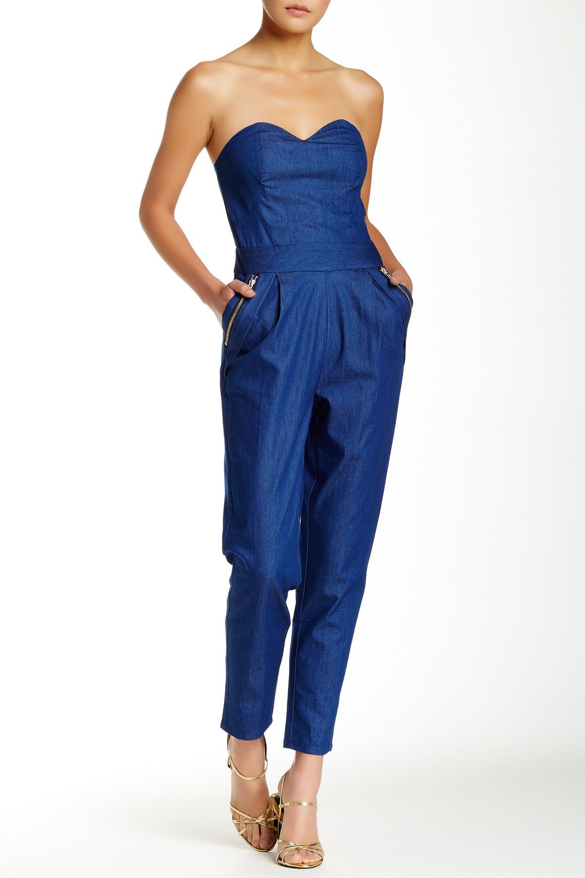 Gracia Denim Strapless Jumpsuit My style haves, want