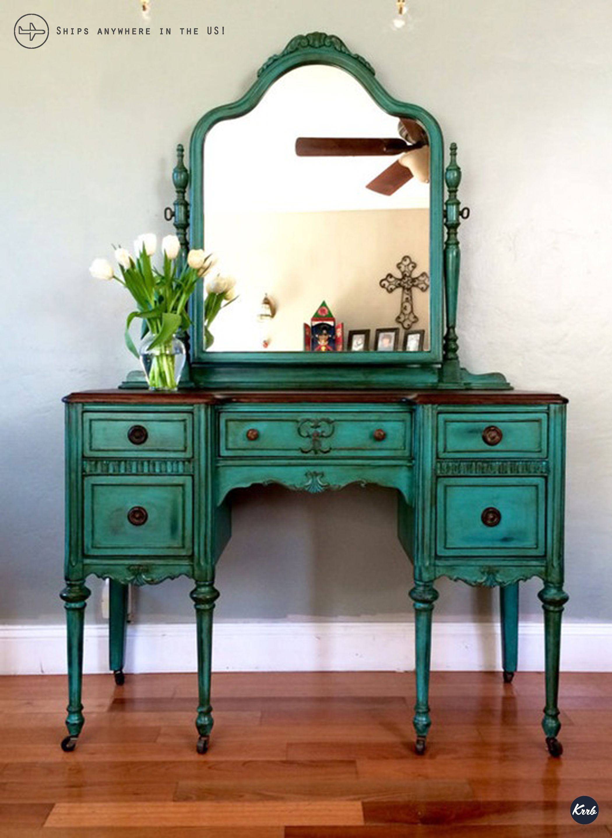 1920s Antique Vanity with Mirror and Seat (Teal) Teal