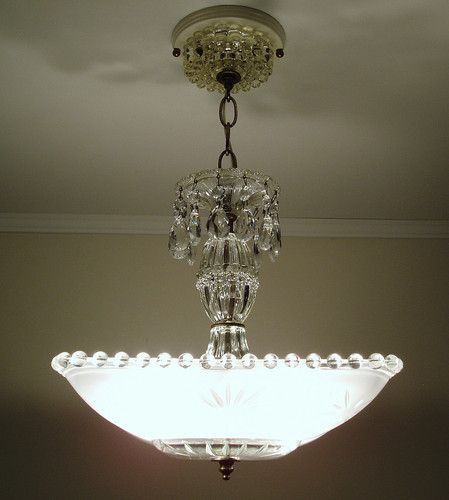 vintage art deco frosted square starburst glass ceiling light
