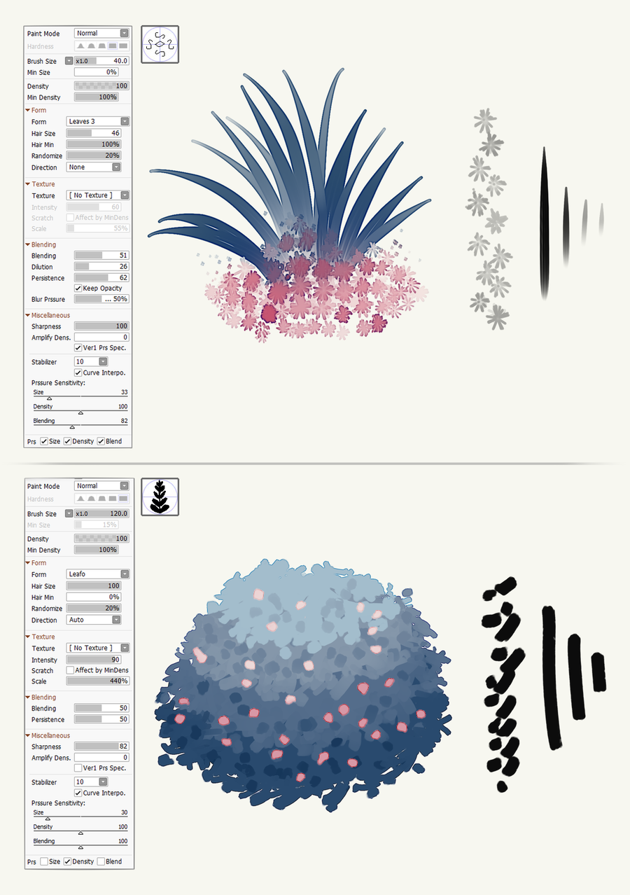 SAI 2 Foliage Brushes by Sutexii | Paint Tool Sai 2 Brushes