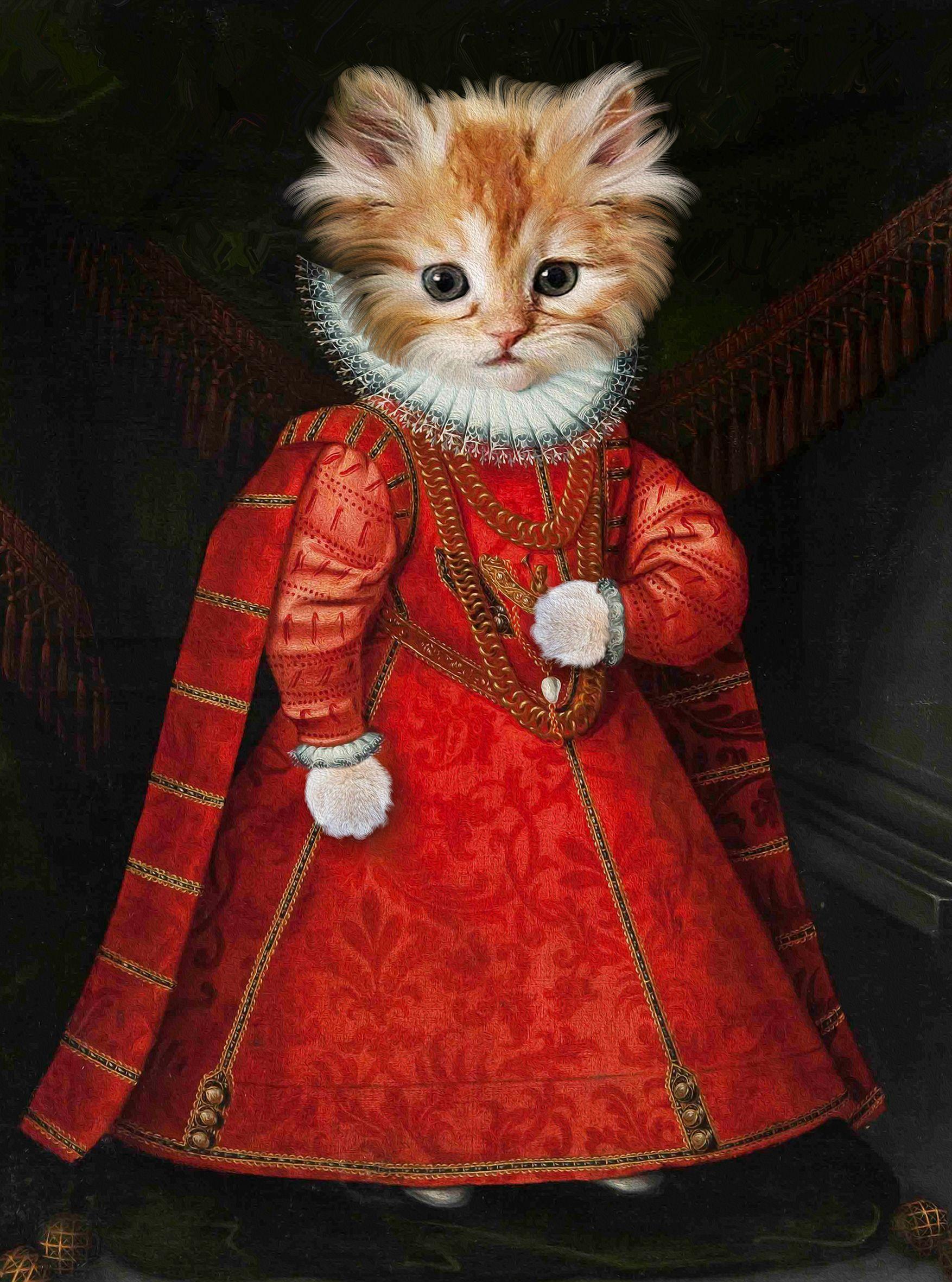 Portrait Renaissance d'après photo, portrait chat