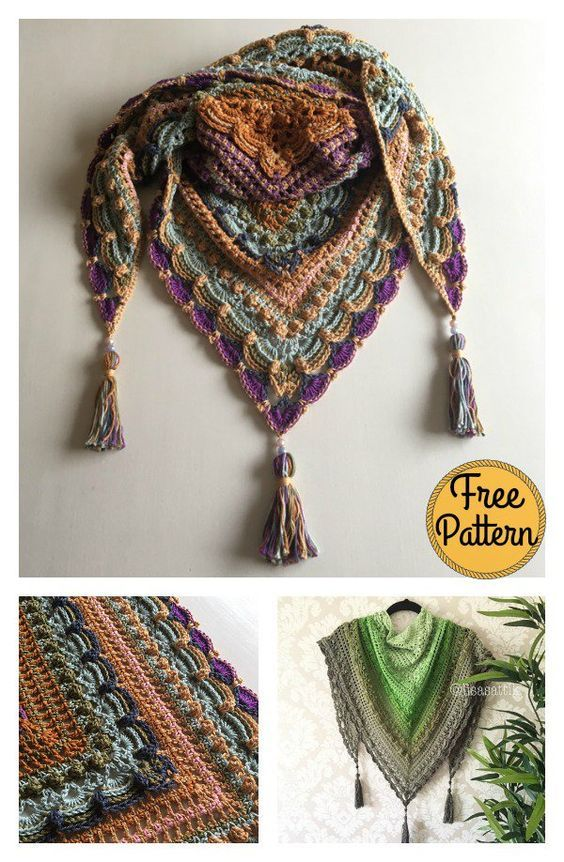 Lost in Time Triangle Shawl Free Crochet Pattern | Stricken
