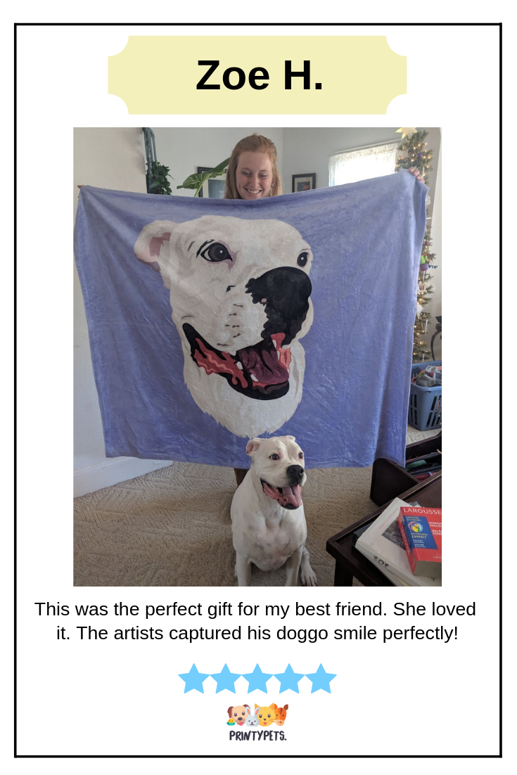 More And More Positive Reviews From Our Customers Just Like What Zoe Experience After Purchasing Her New Fleece Blanket From Custom Pet Art Animal Lover Pets