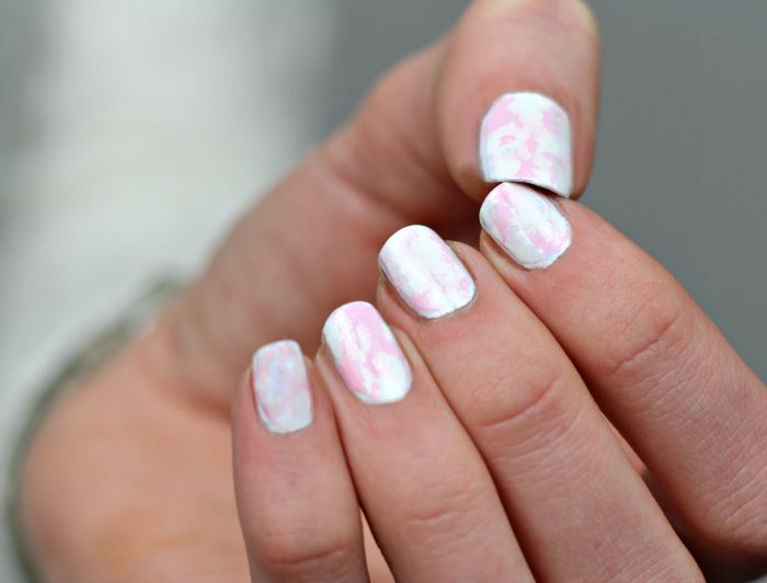rose white marble Nailart