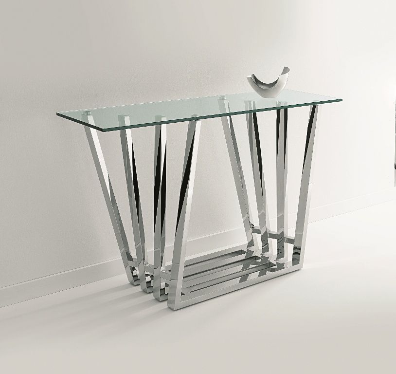 Octet Console Table Striking Stainless Steel Frame With 12mm Clear Glass Top Metal Furniture Furniture Glass Top Table
