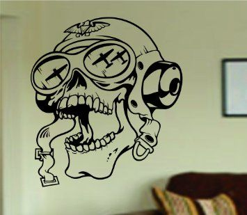 Amazon.com - Pilot Skull Wall Vinyl Decal Sticker Art Graphic ...