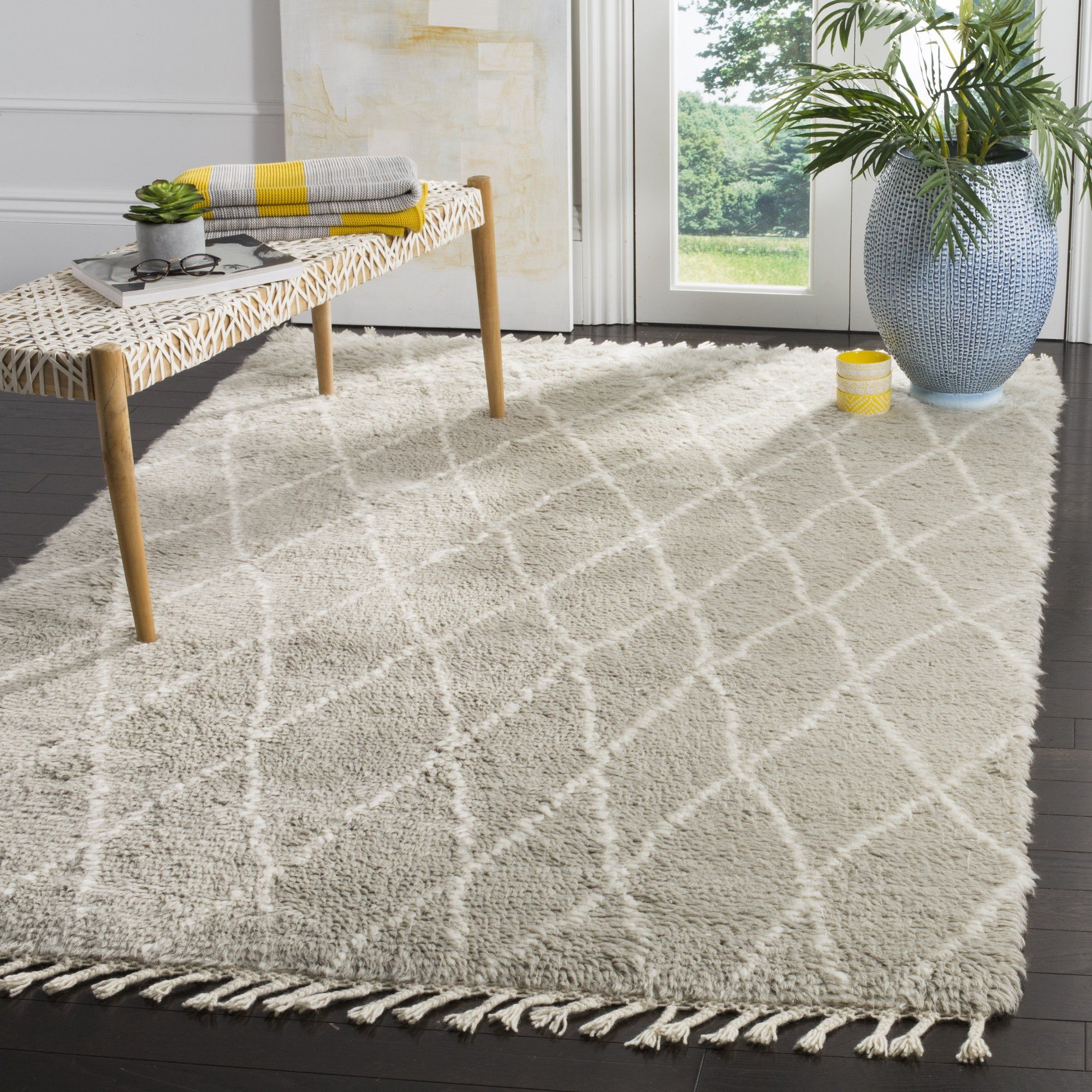 Cosima Hand Knotted Gray Ivory Area Rug Rugs Area Rugs