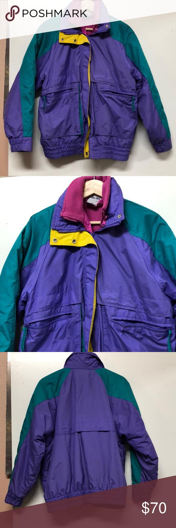 Vintage colorful windbreaker fleece jacket my posh picks