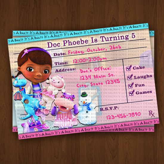 Doc Mcstuffins Invitations Chevron Invitation Birthday Party Printables J16 1 You Print