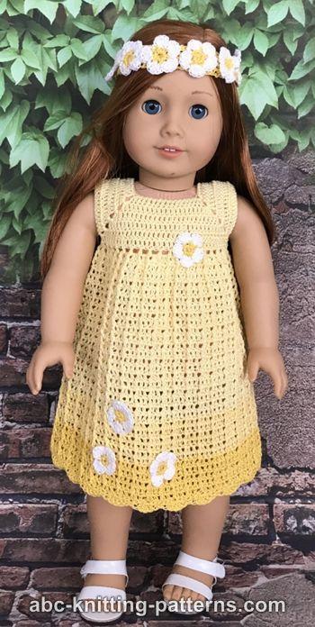 ABC Knitting Patterns - Daisy Sundress for 18-inch Dolls #dolldresspatterns