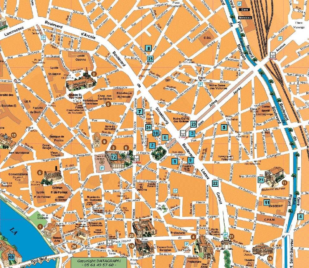 Map of downtown toulouse toulouse pinterest for Hotel design toulouse centre ville