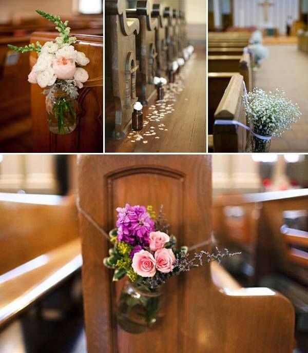 Church Pew Decorations For Weddings: Ceremony // I Like The Jar Tied Around With Twine