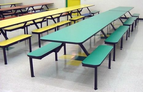 Cafeteria Seating Units with Flat Bench Seats
