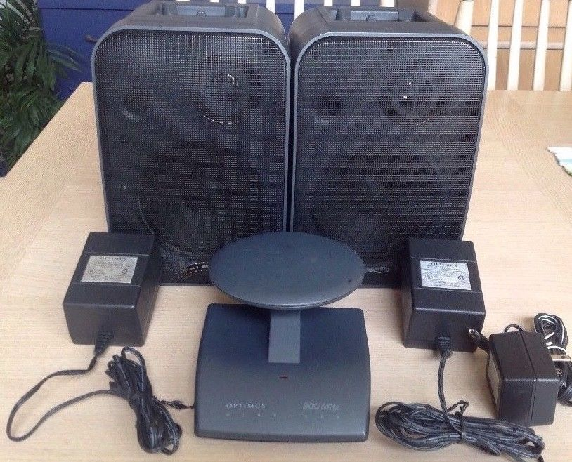 OPTIMUS 40 1372 900MHZ Wireless Speaker System W TransmitterAndAdaptors6Pieces