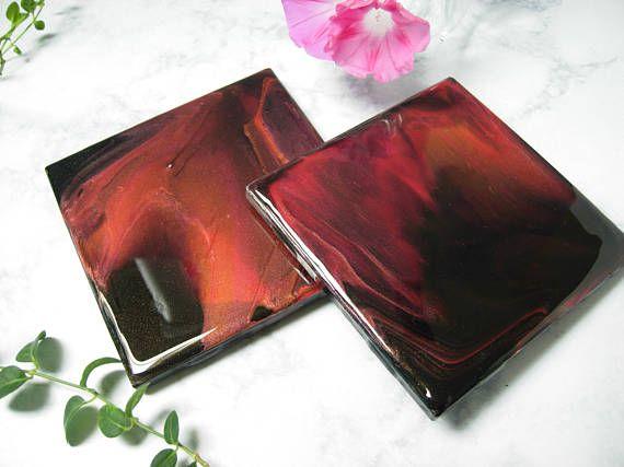 Original Acrylic Poured Tile Coasters Quot Succubus Quot Square