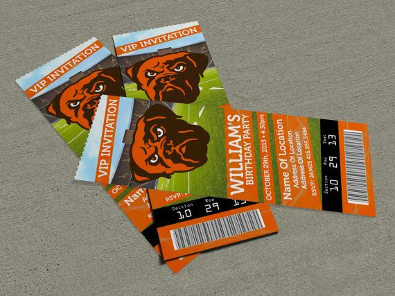 Cleveland Browns Birthday Party Event Ticket by MapleSyrupDesign - event ticket ideas