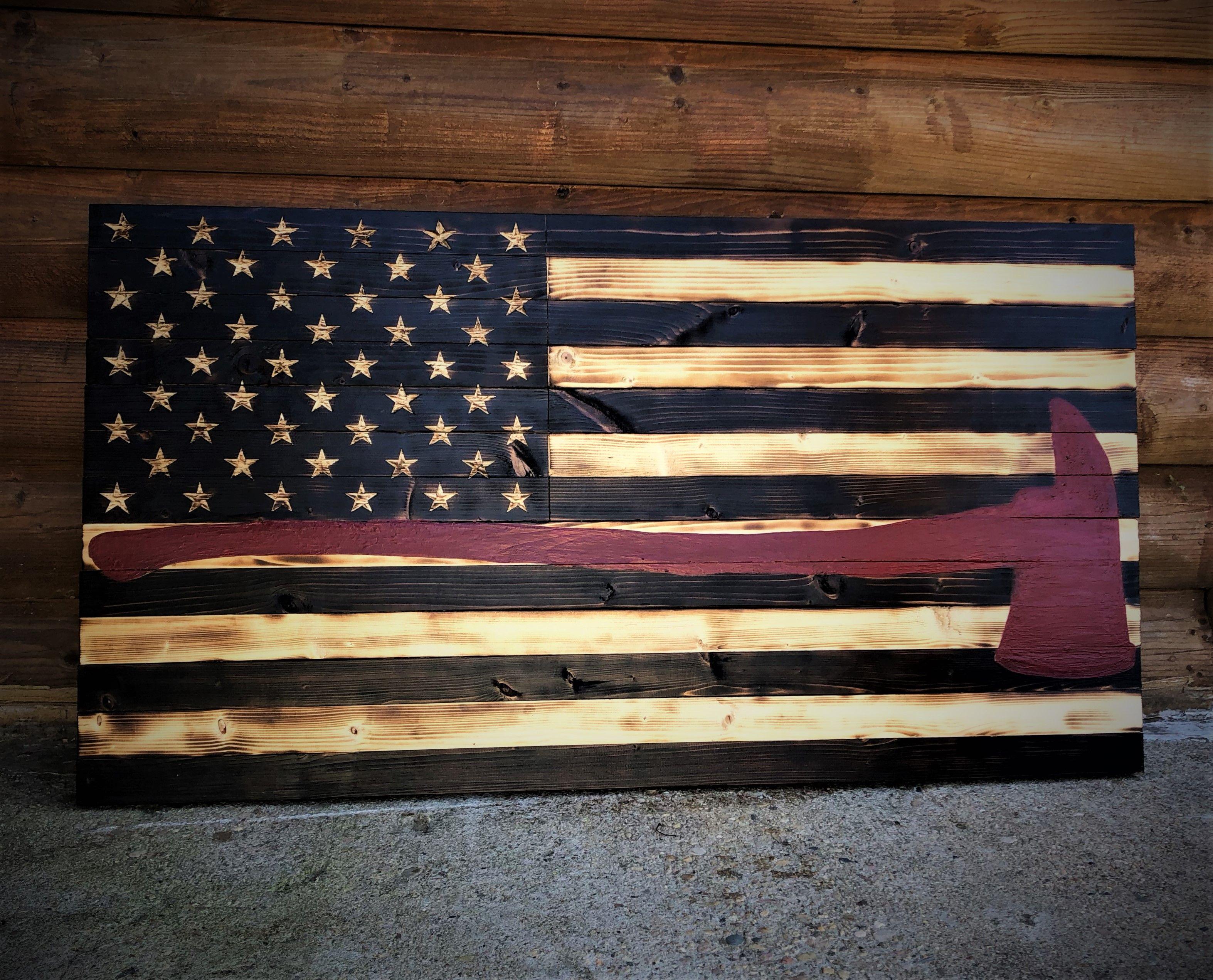 American Firefighter Flag Fireman Ax Wooden Flag Wooden