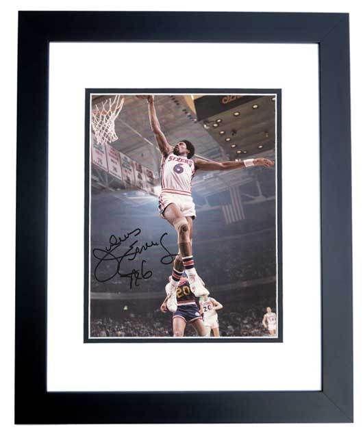 cf1c244e150 AAA Sports Memorabilia LLC - Julius Erving Autographed Philadelphia 76ers  9x12 Photo BLACK CUSTOM FRAME
