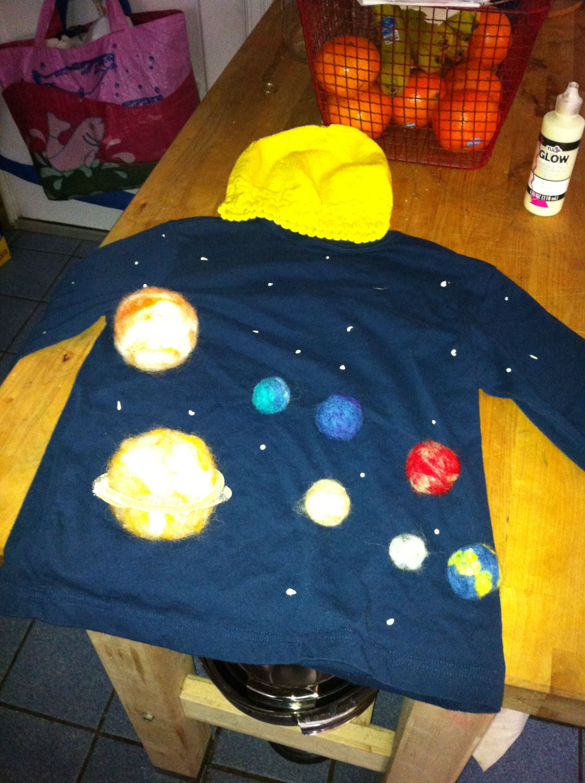 Solar system kid costume Felted wool planets, knit wool ...