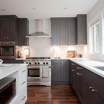 Best Dark Gray Shaker Kitchen Cabinets Transitional Kitchen 640 x 480