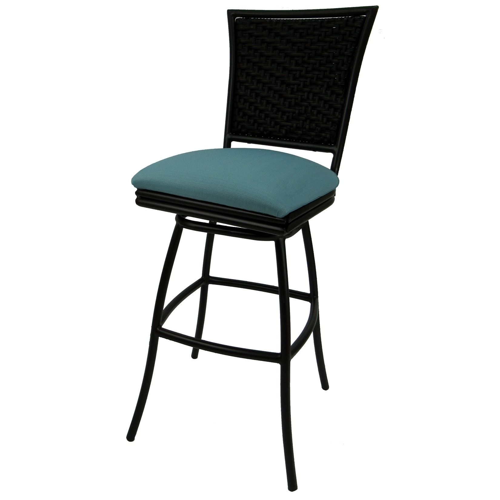 Swivel Patio Outdoor Bar Stool Armles Black Frame Erin 30 N A