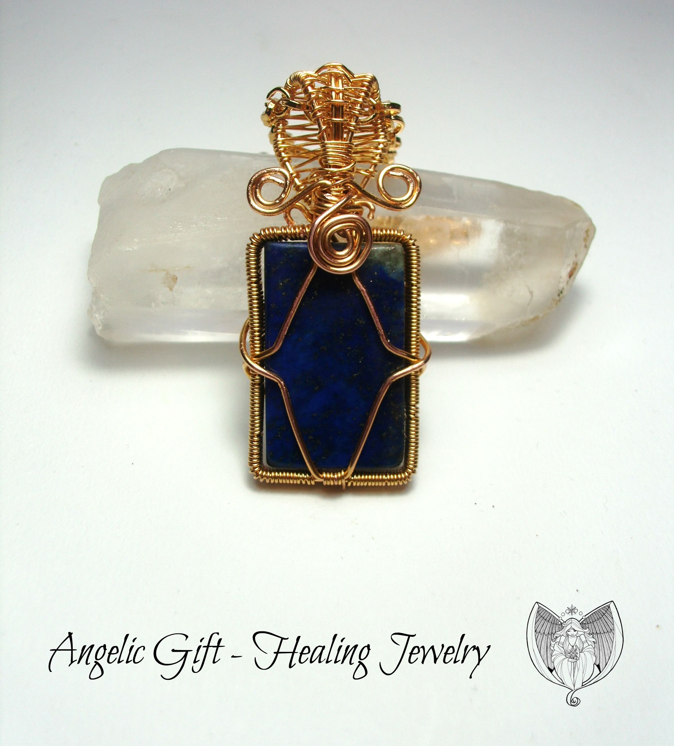 Wire Wrapped Lapis Lazuli Healing Pendant - charged with Reiki ...