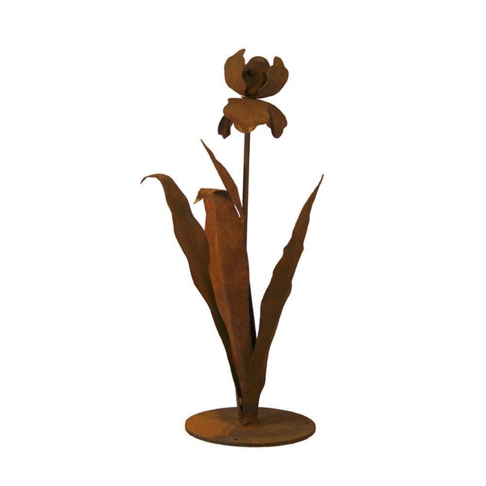 Patina Products - S671 Small Iris Garden Sculpture (Cynthia), Solid Steel, Natural Patina Finish